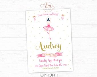 Ballerina Invitation, Ballet Birthday Invitation, Ballerina, Tutu Invitation, Pink and Gold Ballerina, PRINTABLE FILE