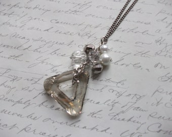 Crystal triangle necklace with crystal drops and pearls