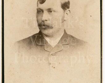 CDV Carte de Visite Photo - Victorian Young Man, Walrus Mustache & Quiff Portrait - Williams of Wolverhampton England - Antique Photograph