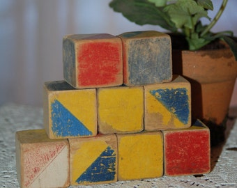 9 Vintage Wood Blocks - Miniature Children's Blocks Primitive Chippy Paint Wooden Blocks