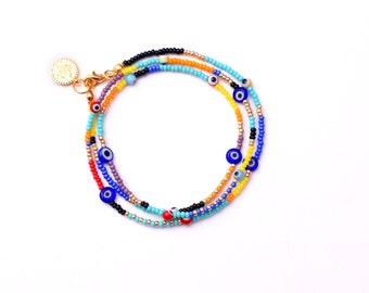 Hippie Wrap Bracelet Beaded, Evil Eye Bracelet, Hippie Bracelet , Triple Wrap Bracelet, Wrap Around Bracelet, Colorful Bracelet for Her