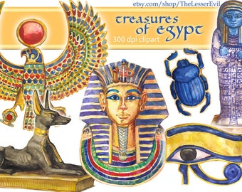 Treasures od Egypt Clipart, Digital Watercolor Illustration, Egyptian Clip Art, Hand-painted Ancient Treasures, Stock, commercial use
