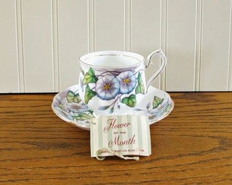 Vintage Royal Albert Tea Cup Flower of the Month Tea Cup and Saucer Morning Glory Tea Cup September Tea Cup Purple Cup Bone China
