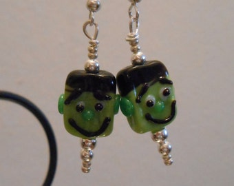 Glass Beaded Earrings Frankenstein's Monster Item No. 670