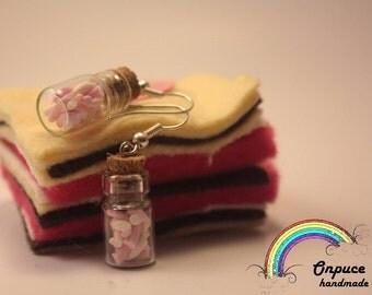 Marshmallow in a bottle earrings handmade