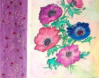 """Art contemporain, peinture originale sur toile 40 x 50 cm, peinture acrylique fleurs """" Anémones"""" bordée sur 2 côtés de broderies peintes"""