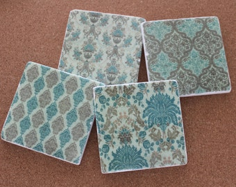 Set of 4 Tumbled Marble Tile Coasters - Vintage Turquoise and Tan Patterns