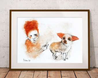 Original Watercolor painting Girl with Dog. Watercolor and Ink Painting. Watercolour Illustration. Original watercolor mixed media painting