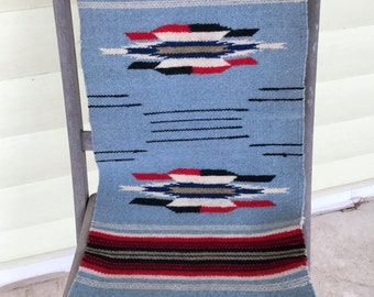 Wool Native American Hand Woven Runner/New Mexico/Southwest/Wall Hanging/Geometric Pattern/Blue Red Black White/Mid Century/Chimayo/SALE