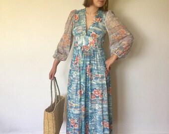 60s 70s Maxi Dress Sheer Bell Sleeves Deep V Neck Asian Print S M