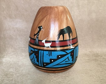 Navajo Pottery, Native American Vase, M Yanito Dineh, Southwestern Art, Hand Crafted, Hand Painted, Primitive Fine Art, Collectible Pottery