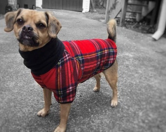 Custom Dog Sweater Fleece Pullover In Red Plaid - El Escocés