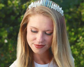 Crystal Crown // Aura Crystal Mermaid Crown - Mermaid Jewelry // Festival Clothing - Festival Accessories / Boho Jewelry - Bridal Hair Piece