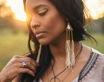 Arrow Head Earrings, Wood Pendant Tassel Earrings, brass and gold Statement Earrings, Bohemian Jewelry