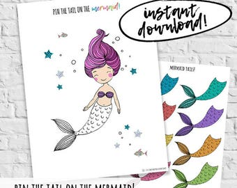Pin The Tail On The Mermaid Birthday Party Games Printable Instant Download DIY Printable Party Games Mermaid Obsessed Birthday Supplies