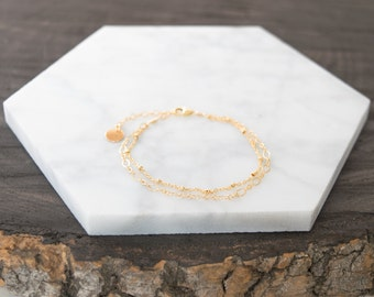 Delicate Double Layer Bracelet w/ Personalized Disc / Gold Filled or Sterling Silver