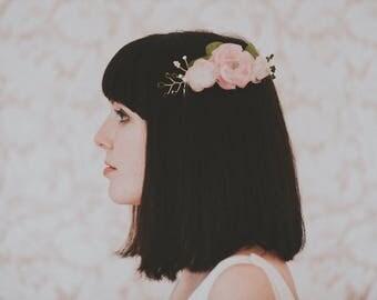 Pink Silk Flower Wedding Comb, Blush Pink Bridal Comb, Pink Flower Wedding Comb, Silk Flower Comb, Bridesmaid Comb, Flower Girl Comb