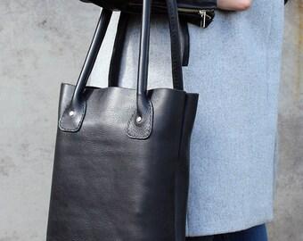 Leather tote bag, Black bag, Leather shopper bag, Everyday Bag, Laptop Bag , Leather Shoulder bag.