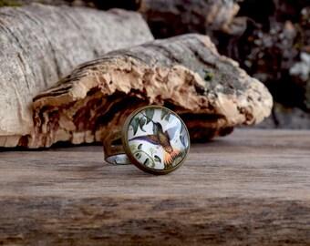Hummingbird ring, Hummingbird jewelry, Bronze bird picture ring, Humming bird ring, Vintage style woodland jewelry, Bird jewelry gift WJ 004