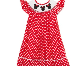 Smocked Mouse Ears with Bow Bishop in Red!
