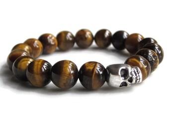 Skull bracelet men, silver skull jewellery, mens beaded bracelet, mens Tigers Eye bracelet gift, mens gift idea