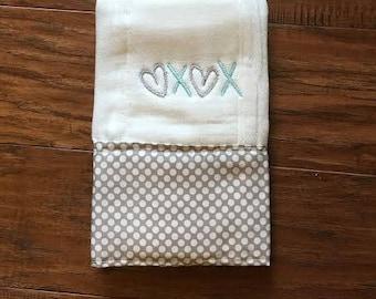 Hugs and Kisses /Burp Cloth. Baby Burp Cloths. Cloth diaper Burp /single diaper/Gray Polka Dot- Baby Shower- Baby Gift. Newborn, Girl, Boy