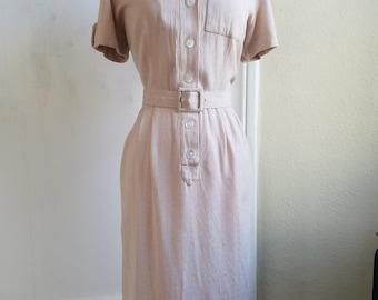 1940s Cream Summer Dress in slub-textured Cotton