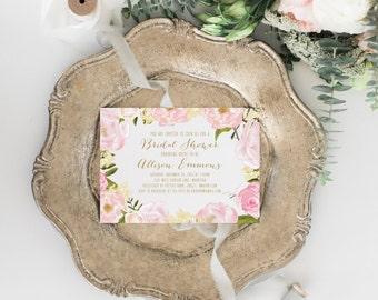 TEMPLATE Rustic Bridal Shower Invitation Template Printable Floral Invites