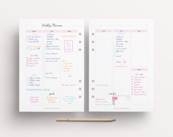 Weekly Planner, Weekly Planner on Two Pages, Blank Weekly Planner, Weekly Planner 2 Page, Bullet Journal, Digital Planner Pages, Printable