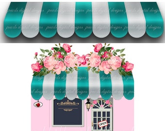 2 PC etsy Awning Store Front large cover banner and Shop Icon, Instant download, blank aqua white store awning, pink roses pink store door,