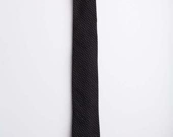 Black cotton tie, black tie, polka dot tie, Pick Stitch In Black Tie, Chambray Tie, Black Tie, Wedding Tie, Classic Tie, Classic Necktie