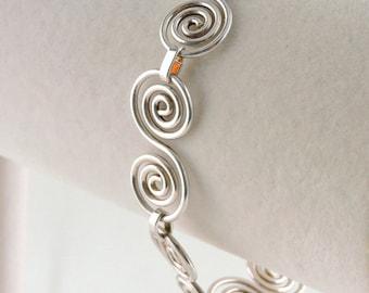 "Sterling Silver Toggle Swirl Bracelet 8"" For Larger Wrist"