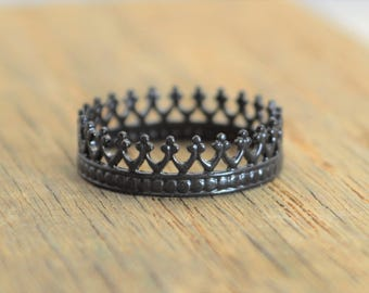 Gothic Ring, Black Crown Ring, Black Gothic Ring, gothic jewelry, Black Ring, Queen Ring, Halloween Ring, Princess Ring, halloween jewelry