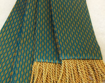 Teal, Rust and Gold, Pinstripe & Dot Sash w/2-Tone Pale Gold Fringe for Pirate, Ren Faire, Cosplay