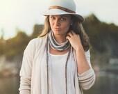 collier textile Perle de Lin - naturel
