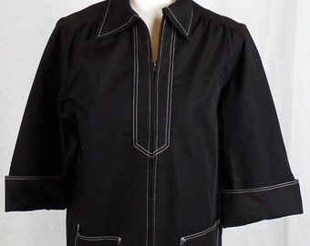 1960s Vintage Funky Mod Womens Black Jacket with White Stitching