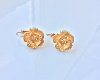 Dangle Rose Earrings Gold Roses Designer Signed AK Vintage Anne Klein Gold Plated Rose Flower Pierced Earrings Little Sister Niece Gift