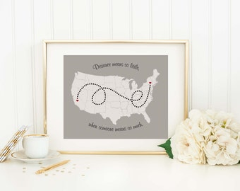 Personalized Long Distance Map Print Long Distance Relationship Family Gift Moving Gift