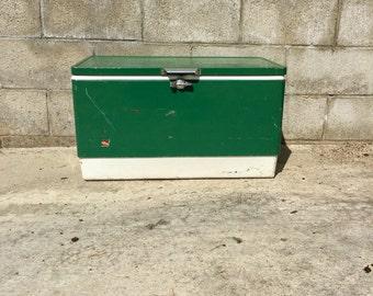 Vintage Coleman Cooler, Vintage Coleman Ice Chest, Metal Coleman Cooler, 1960 Coleman Cooler, Retro Metal Cooler, Vintage Green Ice Chest