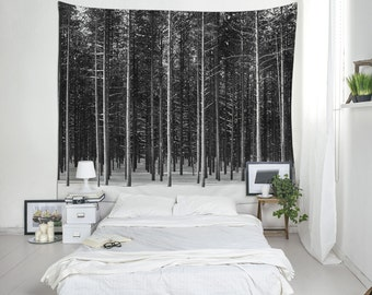 Black Forest, Woods Tapestry, Black And White Wall Decoration, Tree Photography, Winter Tapestry, Trees Wall Decor