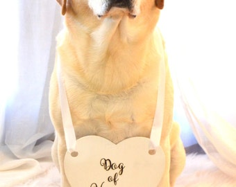 Dog Of Honor Engraved Wedding Sign With Ribbon Handle. Pick Your Color. Pets Wedding Sign.