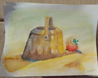 Water Bucket and Tomato Watercolor ORIGINAL painting