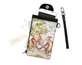 Disney Classic Tigger Winnie the Pooh Piglet Eeyore Phone Wallet  Passport Travel Wallet iPhone Case Samsung Mobile Pouch Carrier Cellphone