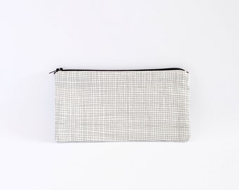 Small Zipper Pouch, Zipper Bag, Makeup Pouch, Cosmetic Pouch, Coin Purse, Bag Storage Organiser - Grey And White Lines