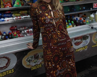 Vintage 70s Psychedelic 60s Print Maxi Dress - 1970s Button Down - Size M