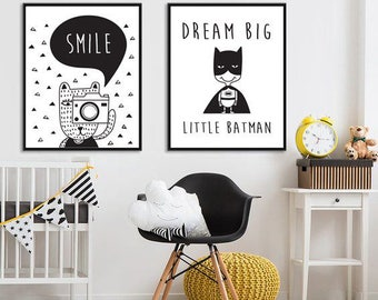 Batman Print smile print set of 2 prints for a Little Boy's Nursery/Bedroom - Batman black & white Instant Download Wall Art - Print at Home
