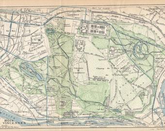 1924 Bois de Vincennes, Paris France Antique Map
