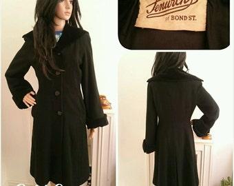 Vintage 1940s Fenwick of Bond St Black Velvet Wool Princess Fit Flare Coat Military Landgirl Chic Starlet / UK 10 12 / EU 38 40