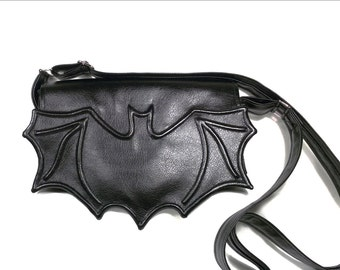Black Faux leather bat bag, Black leatherette bat bag, crossbody bag, messenger bag, vegan bag, black bat purse, bat bag,  goth bag, purse
