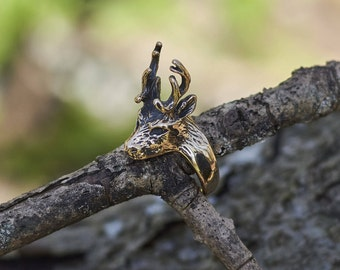 Deer Ring, Deer Antler Ring, Woodland Ring, Nature Ring, Men's Ring, Men's Jewelry, Gift for Him, Deer Antler Jewelry, Unique Gold Ring